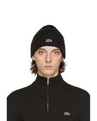 Lacoste Black Wool Beanie