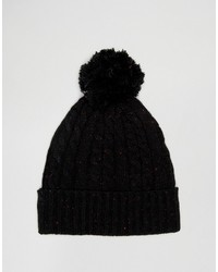Asos Cable Bobble Beanie In Black Nep