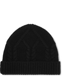 Frame Cable Knit Wool And Cashmere Blend Beanie Black