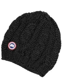 Canada Goose Cable Knit Merino Wool Beanie White