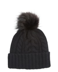 Halogen Cashmere Cable Knit Beanie With Faux