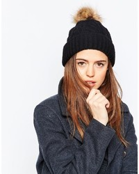 Asos Collection Cable Faux Fur Pom Beanie