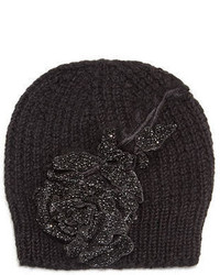 Jennifer Behr Crystal Rose Knit Beanie Hat