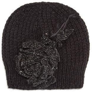 72226fa585072 ... Jennifer Behr Crystal Rose Knit Beanie Hat ...