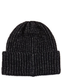 Portolano Cuffed Rib Knit Beanie Hat Black