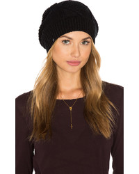 Plush Diamond Cable Knit Beanie In Black