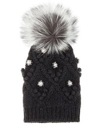 Dolce & Gabbana Embellished Cashmere And Fur Knitted Beanie