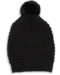 Jocelyn Fox Fur Accented Pom Pom Beanie