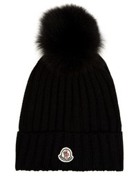Moncler Fur Pompom Ribbed Knit Hat