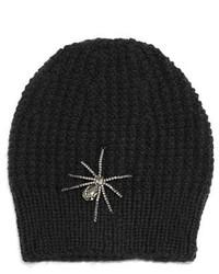 Jennifer Behr Crystal Spider Knit Beanie Hat Black