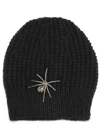 Jennifer Behr Headpieces Crystal Spider Knit Beanie Hat Black