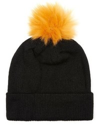 Topman Knit Beanie With Faux Fur Pompom Black
