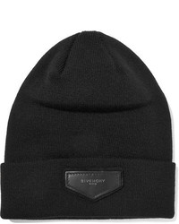 Givenchy Leather Trimmed Ribbed Knit Beanie Black