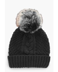Boohoo Maya Cable Knitted Faux Fur Beanie