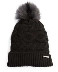 MICHAEL Michael Kors Michl Michl Kors Genuine Rabbit Fur Pom Beanie Black
