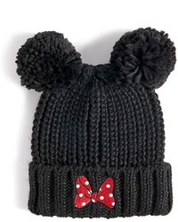 Forever 21 Minnie Mouse Ribbed Knit Pom Pom Beanie