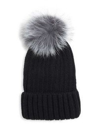 Pom Pom Knit Fox Fur Beanie