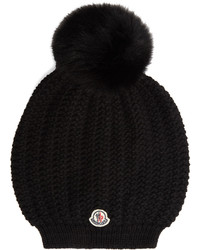 Moncler Pompom Fur And Wool Beanie Hat