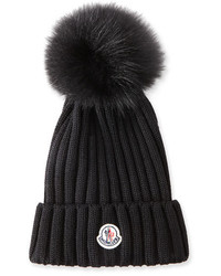 Moncler Ribbed Knit Beanie Hat Wfur Pompom