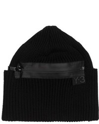 Y-3 Ribbed Knit Zipped Beanie Hat