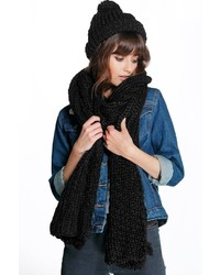 Boohoo Rose Chunky Knit Scarf And Hat Set