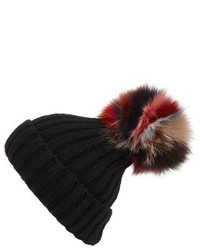 Jocelyn Super Swirl Knit Beanie With Genuine Fox Fur Pom Blue
