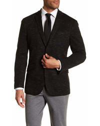 Kenneth Cole Reaction Black Marled Knit Two Button Notch Lapel Trim Fit Sport Coat