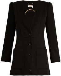 Chloé Chlo Collarless Wool Knit Blazer