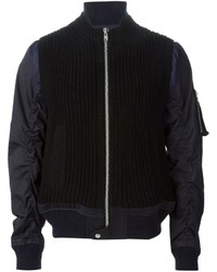 Black Knit Bomber Jacket