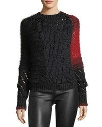 Helmut Lang Patchwork Cable Knit Crewneck Wool Sweater