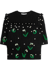 Valentino Ruffled Embroidered Cable Knit Wool Sweater Black