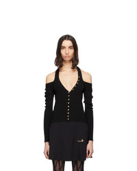 Versace Jeans Couture Black Accent Knit Cut Out Top