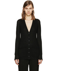 Proenza Schouler Black Ribbed Knit Cardigan