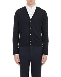 Moncler Gamme Bleu Mixed Knit Cardigan Blue