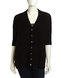 Minnie Rose Short Sleeve Crochet Knit Cardigan Black