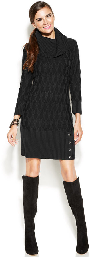 89 Alfani Cable Knit Cowl Neck Sweater Dress