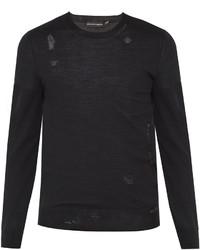 Alexander McQueen Distressed Wool Blend Fine Knit Sweater
