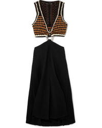 Proenza Schouler Cutout Crochet Knit And Boucl Midi Dress