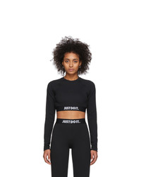 Nike Black Rib Crop Long Sleeve T Shirt
