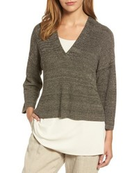 Melange knit tencel crop sweater medium 5035273