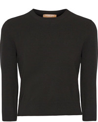 Michl kors collection cropped stretch knit sweater black medium 4394230