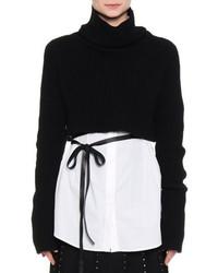 Valentino Trumpet Sleeve Cropped Sweater Black
