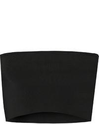 Calvin Klein Collection Bai Cropped Ribbed Knit Top Black