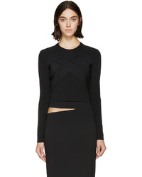 Proenza Schouler Black Knit Band Crop Top