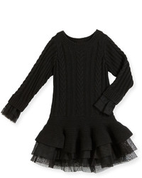 Billieblush Long Sleeve Tiered Cable Knit Dress Black Size 4 8