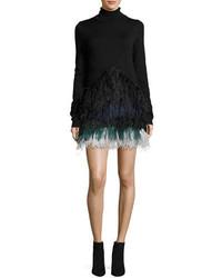 No.21 No 21 Adelfina Long Sleeve Feathered Knit Dress