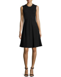 Tory Burch Cable Knit Fit And Flare Dress Navyblack