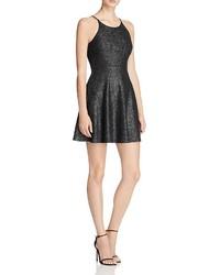 Aqua Metallic Knit Fit And Flare Dress