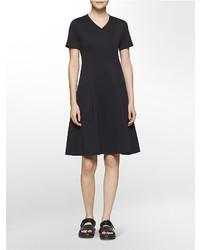 Calvin Klein Platinum Mesh Textured Fit Flare Knit Dress