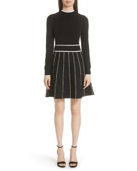 Lela Rose Stripe Knit Fit Flare Dress
